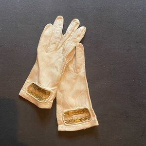Vintage 60's white leather gold driving gloves 7.1